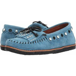 COACH Roccasin Embellished Blue Leather Shoes
